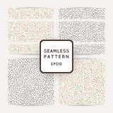 Set of seamless patterns with abstract strokes and dots. Vector background stock illustration
