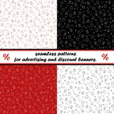 Set of seamless patterns for advertising and discount banners. Stores, shops, marketing. Seamless patterns on a red background for advertising and discount Royalty Free Stock Image
