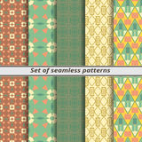 Set of seamless patterns in American style Stock Images