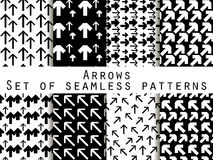 Set of seamless patterns with arrows. Black and white color. For wallpaper, bed linen, tiles, fabrics, backgrounds. Vector illustration Royalty Free Stock Photography