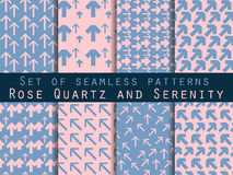 Set of seamless patterns with arrows. Rose quartz and serenity violet colors. Vector illustration. Stock Photo