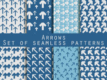 Set of seamless patterns with arrows. For wallpaper, bed linen,. Tiles, fabrics, backgrounds. Vector Stock Photo