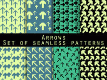 Set of seamless patterns with arrows. For wallpaper, bed linen, tiles, fabrics, backgrounds. Stock Photos