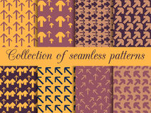 Set of seamless patterns with arrows. For wallpaper, bed linen, tiles, fabrics, backgrounds. Stock Images