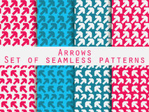 Set of seamless patterns with arrows. For wallpaper, bed linen, tiles, fabrics, backgrounds. Royalty Free Stock Photos