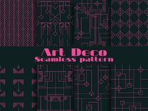 Set of seamless patterns of art deco. Lines and geometric figures on the background.  Style 1920`s, 1930`s. Vector Stock Image