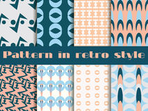 Set of seamless patterns in art deco style. Seamless background. Royalty Free Stock Photos
