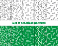 Set of seamless patterns. Back to school. Vector Stock Photo