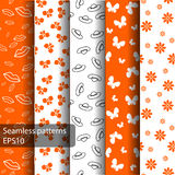 Set of seamless patterns and backgrounds for girls. Set of seamless orange patterns and backgrounds for girls . Ideal for printing onto fabric and paper or scrap Stock Images