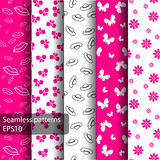 Set of seamless patterns and backgrounds for girls. Set of seamless pink patterns and backgrounds for girls . Ideal for printing onto fabric and paper or scrap Royalty Free Stock Photo