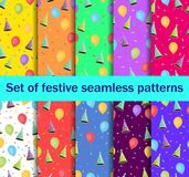Set of seamless patterns with balloons and caps, confetti. A festive background of gift wrappers, wallpaper, fabrics. Vector. Illustration Royalty Free Stock Photo