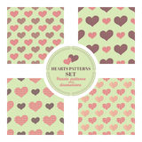 A set of seamless patterns with big and small hearts Royalty Free Stock Photo