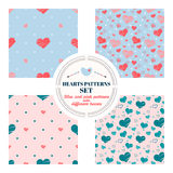 Set of seamless patterns with big and small hearts of different colors. Red, pink, blue. On light blue, pink and beige background. Stock Image