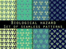 Set of seamless patterns with biohazard symbol. Vector illustration. Stock Photos