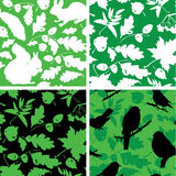 Set of Seamless patterns with birds, leaves Royalty Free Stock Photography