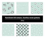 Baby. Set of seamless patterns. Hand drawing ink textures vector illustration
