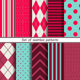 Set of seamless patterns birthday Stock Photos