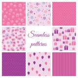 Set of seamless patterns for birthday Royalty Free Stock Photo