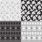 Set of seamless patterns of black and white colors Royalty Free Stock Image