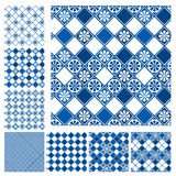 Set of seamless patterns - blue ceramic. Tiles with floral ornament - wall Vintage Background Collection stock illustration