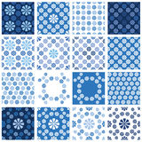 Set of seamless patterns - blue floral ornament Stock Photo