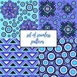 Set of seamless patterns in blue. Vector illustration Royalty Free Stock Image