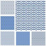 Set of seamless patterns - blue waves vector illustration