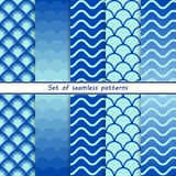 Set of seamless patterns with blue waves stock illustration