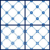 Set of seamless patterns - blue and white ceramic tiles with flo Royalty Free Stock Images