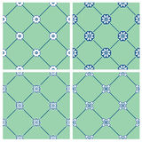 Set of seamless patterns - blue and white ceramic tiles  Stock Photo
