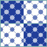 Set of seamless patterns - blue and white ceramic tiles Stock Photography