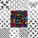 Set seamless patterns with butterflies Royalty Free Stock Images