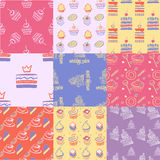Set of seamless patterns, cakes, sweets, cupcakes Stock Photography