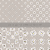 Set of seamless patterns with camomile. Seamless background with daisy flowers.White daisies on  beige background. Cute camomile wallpaper in vintage style Royalty Free Stock Image