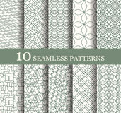 Set of 10 seamless patterns. Can be used for wallpaper, website background, textile printing. Modern geometric texture. Modern monochrome geometric texture Royalty Free Illustration