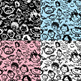 Set of seamless patterns. Cartoon faces with different emotions. Stock Photography