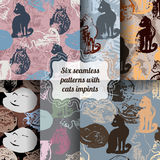 Set of seamless patterns with cat stamps. Royalty Free Stock Photo