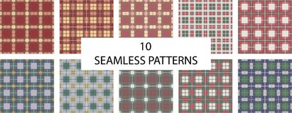 Set of 10 seamless patterns. Check plaid texture seamless pattern. English check royalty free illustration