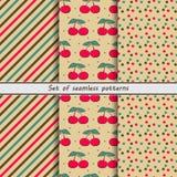 Set of seamless patterns, cherry Stock Photo