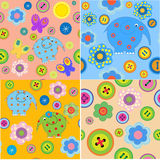 Set of seamless patterns with childrens crafts Royalty Free Stock Image
