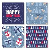 Set of seamless patterns with christmas trees, snow, deers stock illustration