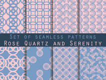 Set of seamless patterns with circles. Modern stylish texture. Rose quartz and serenity violet colors. Vector. Illustration Royalty Free Stock Photos