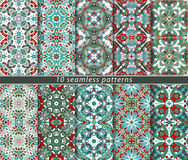 Set of seamless patterns. In the classical style for the Christmas or festive wrapping paper. Ornaments with oriental motifs. Suitable for textiles Stock Photos