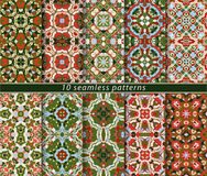 Set of seamless patterns. In the classical style for the Christmas or festive wrapping paper. Ornaments with oriental motifs. Suitable for textiles Royalty Free Stock Images