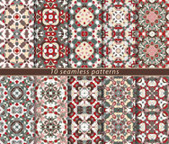 Set of seamless patterns. In the classical style for the Christmas or festive wrapping paper. Ornaments with oriental motifs. Suitable for textiles Royalty Free Stock Photography