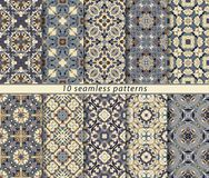 Set of seamless patterns. In the classical style for festive wrapping paper. Ornaments with oriental motifs. Suitable for textiles, scrapbooking or your design Royalty Free Stock Photography