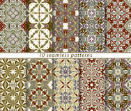 Set of seamless patterns. In the classical style for festive wrapping paper. Ornaments with oriental motifs. Suitable for textiles, scrapbooking or your design Stock Image