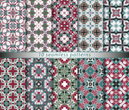 Set of seamless patterns. In the classical style for festive wrapping paper. Ornaments with oriental motifs. Suitable for textiles, scrapbooking or your design Royalty Free Stock Photo