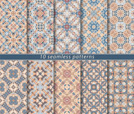 Set of seamless patterns. In the classical style for festive wrapping paper. Ornaments with oriental motifs. Suitable for textiles, scrapbooking or your design Royalty Free Stock Images