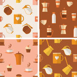Set of seamless patterns with coffee items Royalty Free Stock Photo